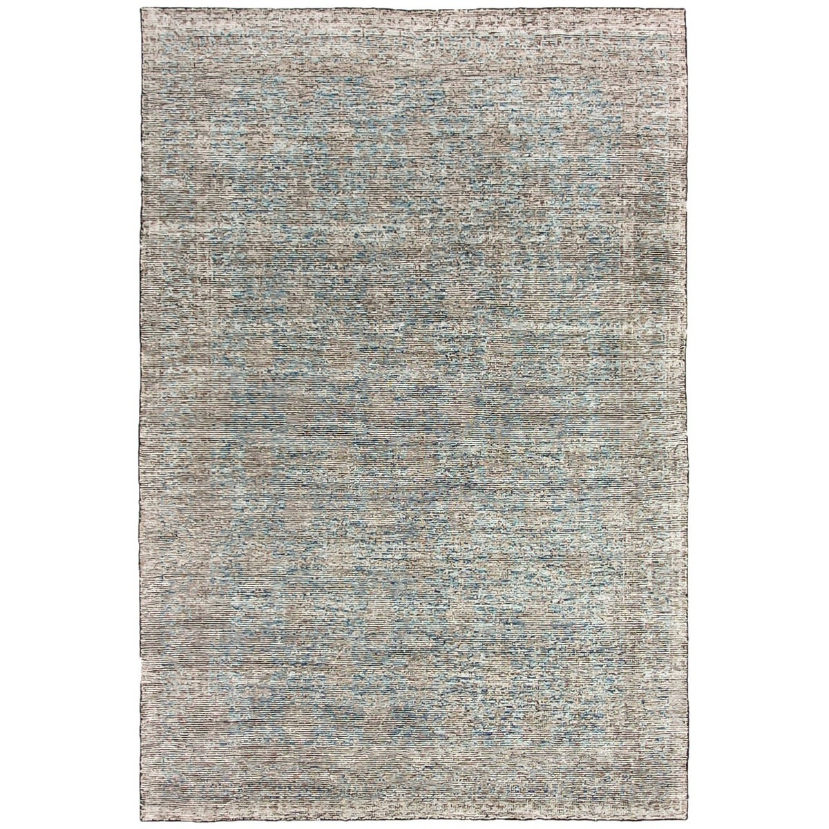 Revival Khotan Hand Knotted Wool & Viscose Rug, 250x350cm, Washed Indigo