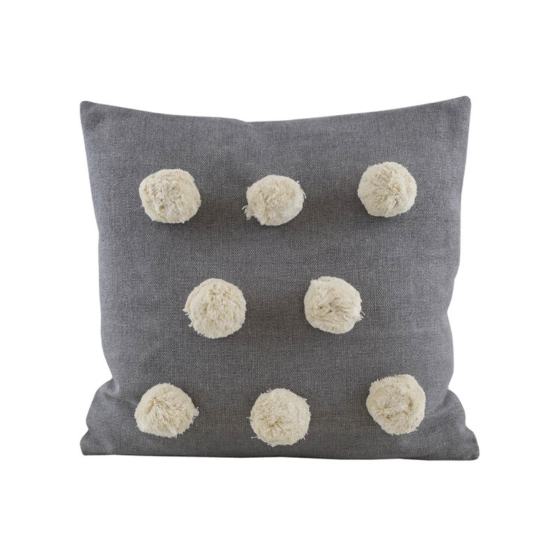 Pom Pom Feather Filled Cotton Scatter Cushion