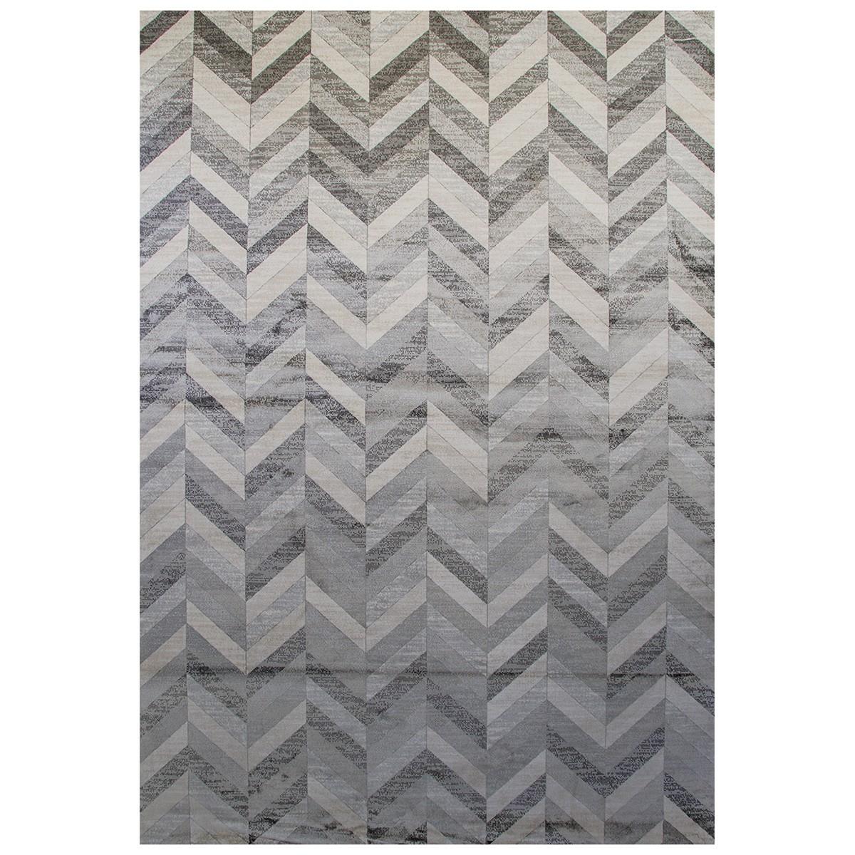 Heritage Chevron Modern Cotton Rug, 230x160cm, Grey