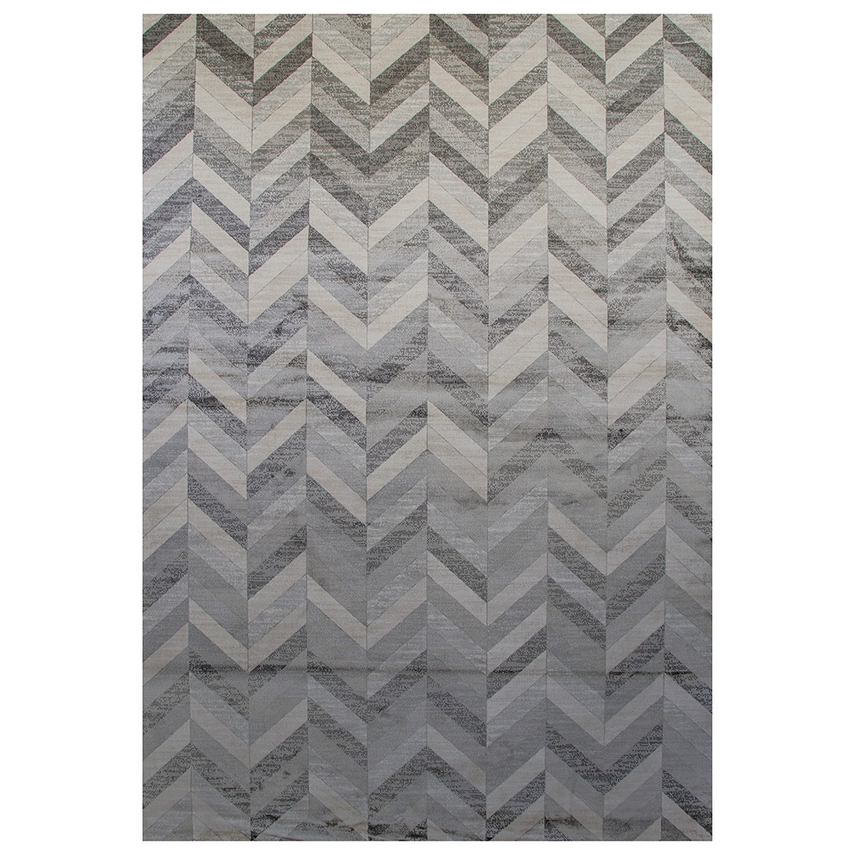 Heritage Chevron Modern Cotton Rug, 300x195cm, Grey