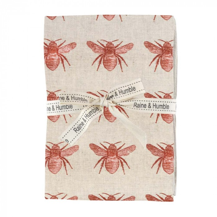 Honey Bee 4 Piece Fabric Napkin Set, Terracotta / Beige