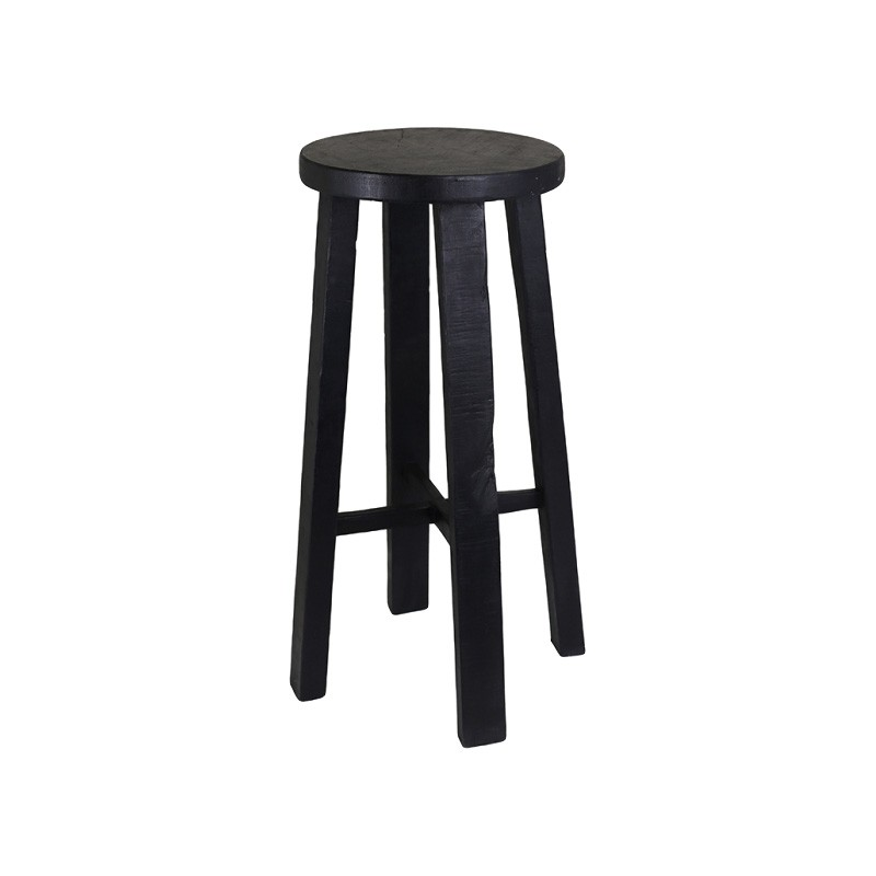 Bella Recycled Timber Round Counter Stool, Black