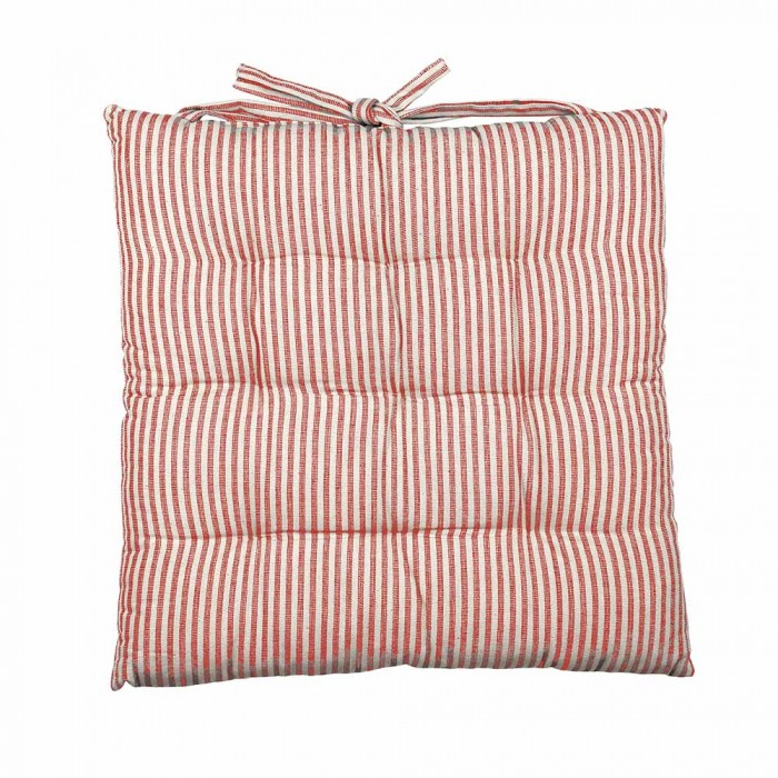 Abby Stripe Fabric Seat Cushion, Terracotta