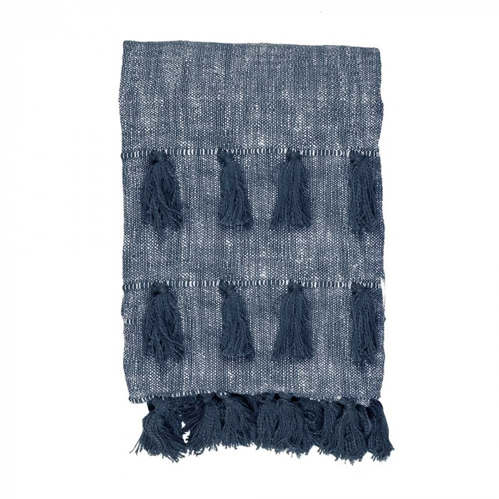 Berkeley Chambray Cotton Slub Throw, 170x130cm, Blue