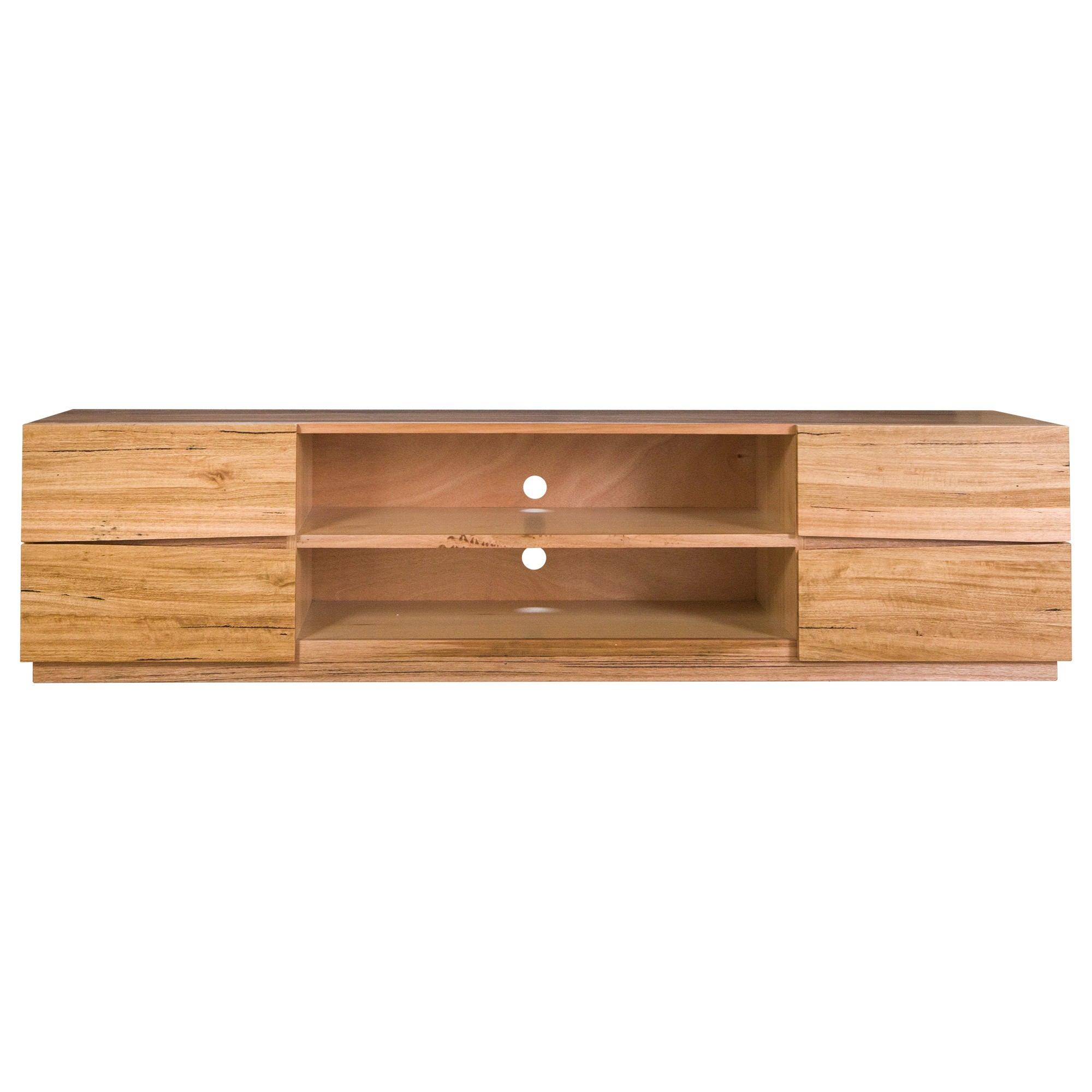 Cameron Tasmanian Oak Timber 4 Drawer TV Unit, 200cm, Natural