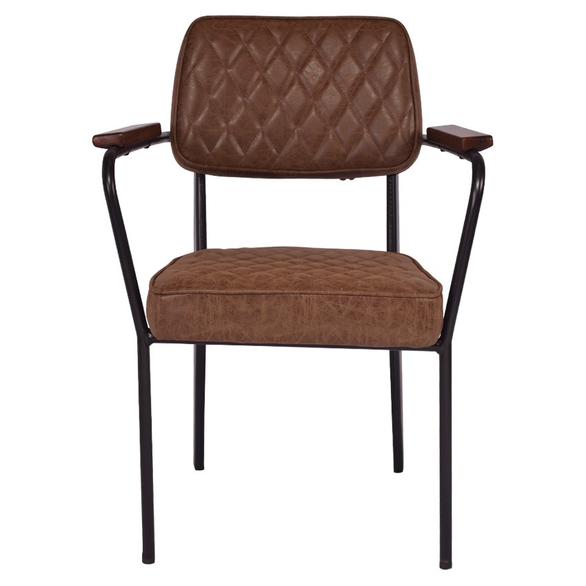 Tyne PU Leather & Metal Reception Armchair