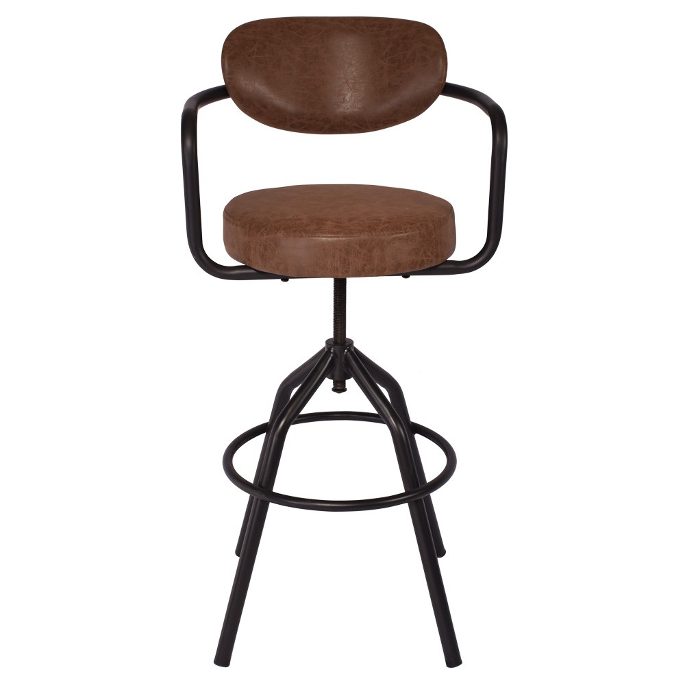 Metro PU Leather & Metal Adjustable Swivel Counter Stool