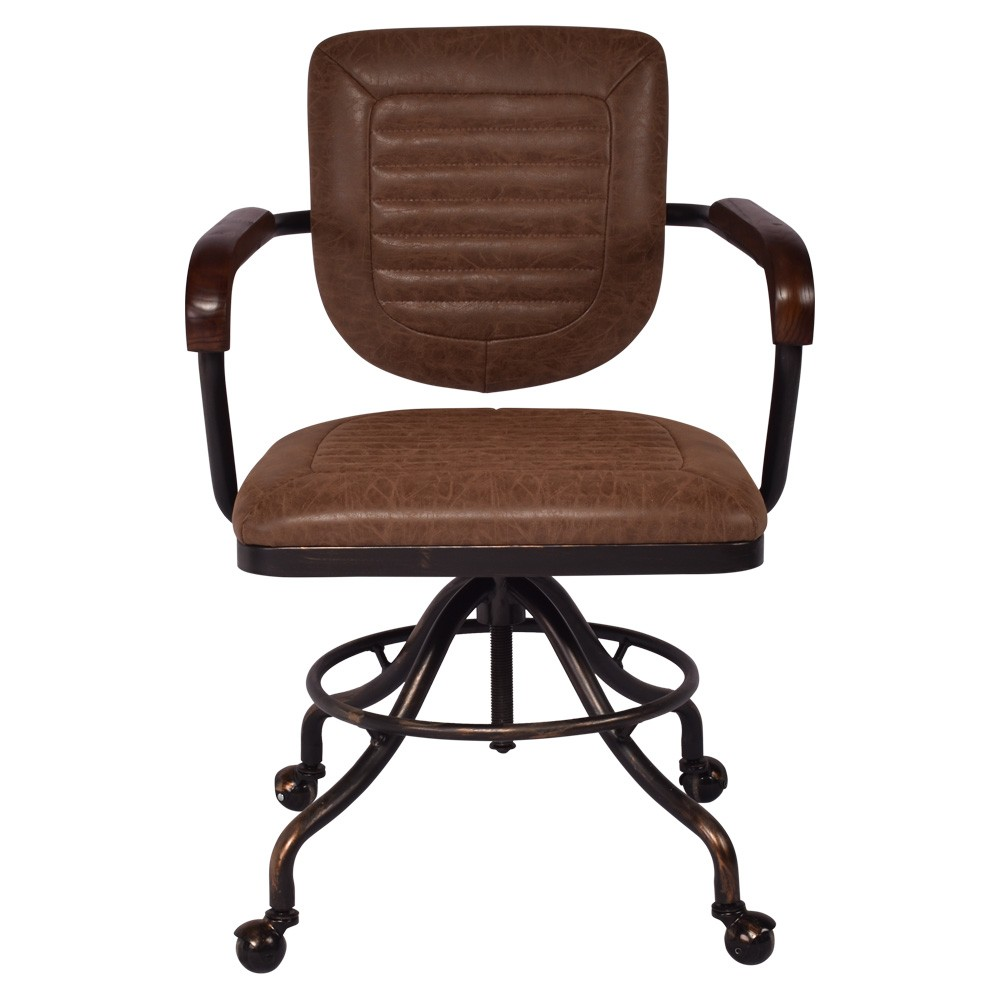 Heber PU Leather & Metal Office Chair, Vintage Brown