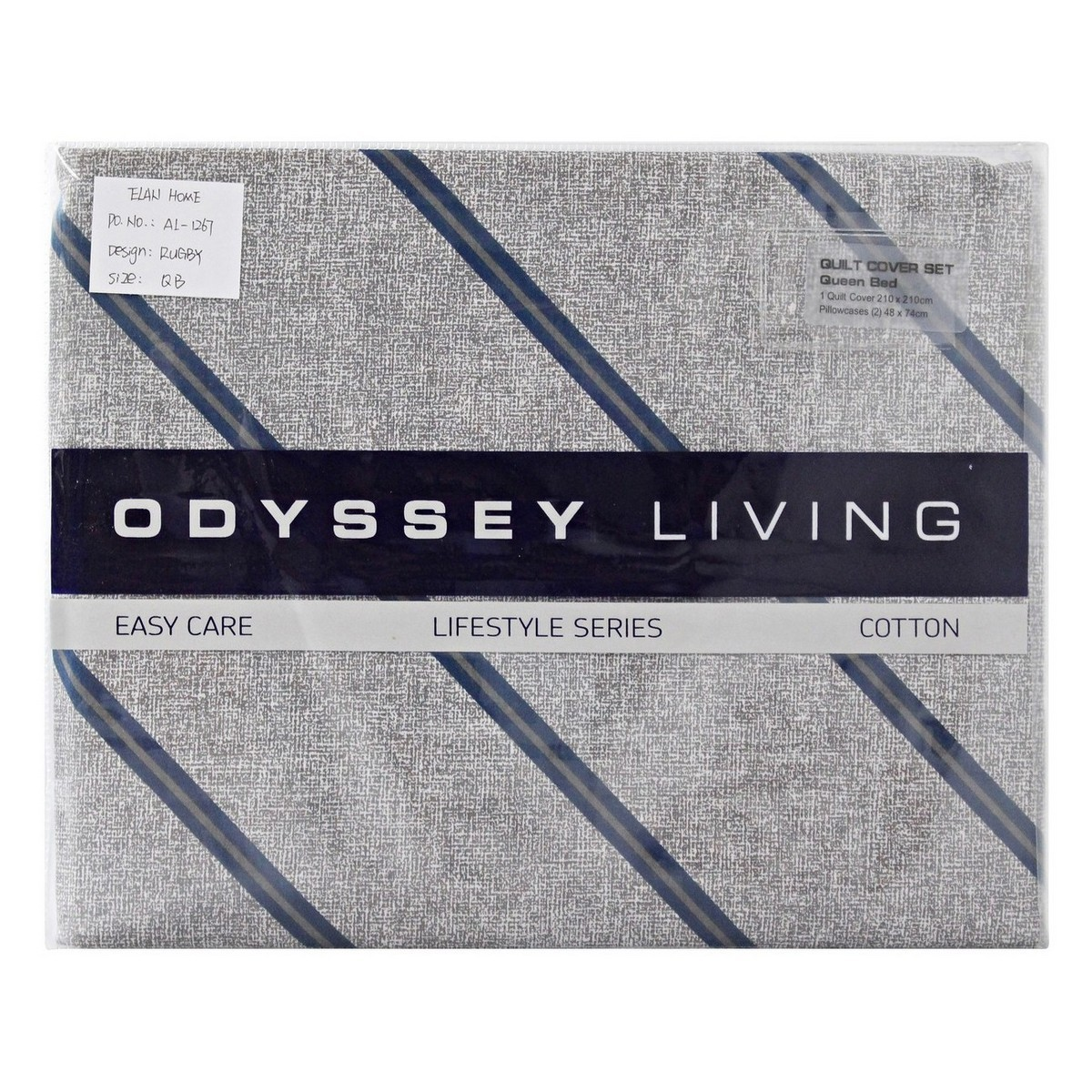 Odyssey Living  Rugby Cotton Quilt Cover Set, Queen
