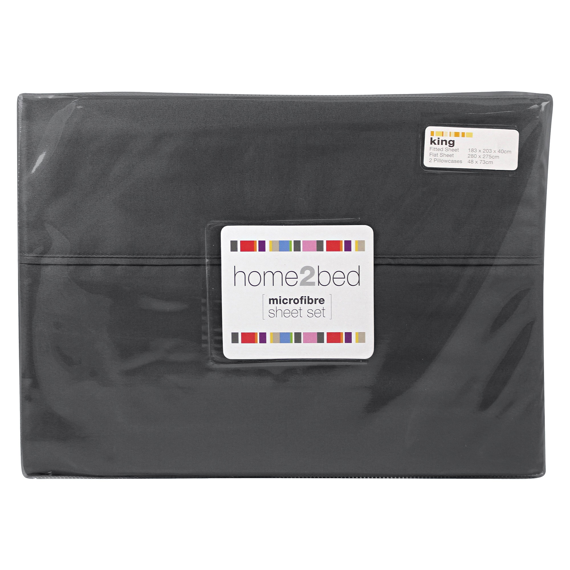 Home2Bed Microfibre Sheet Set, King, Charcoal