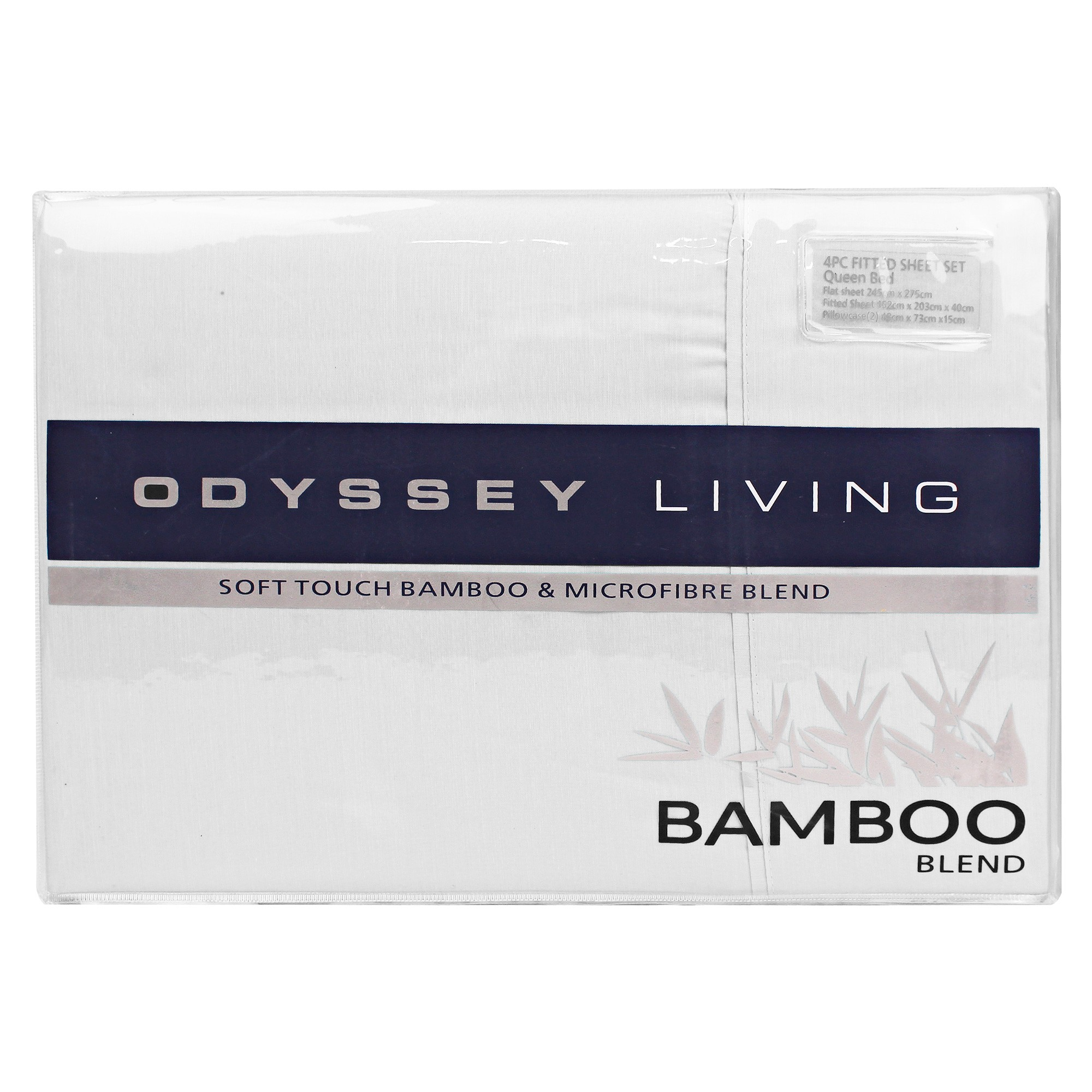 Odyssey Living Soft Touch Bamboo & Microfibre Blend Sheet Set, King, White