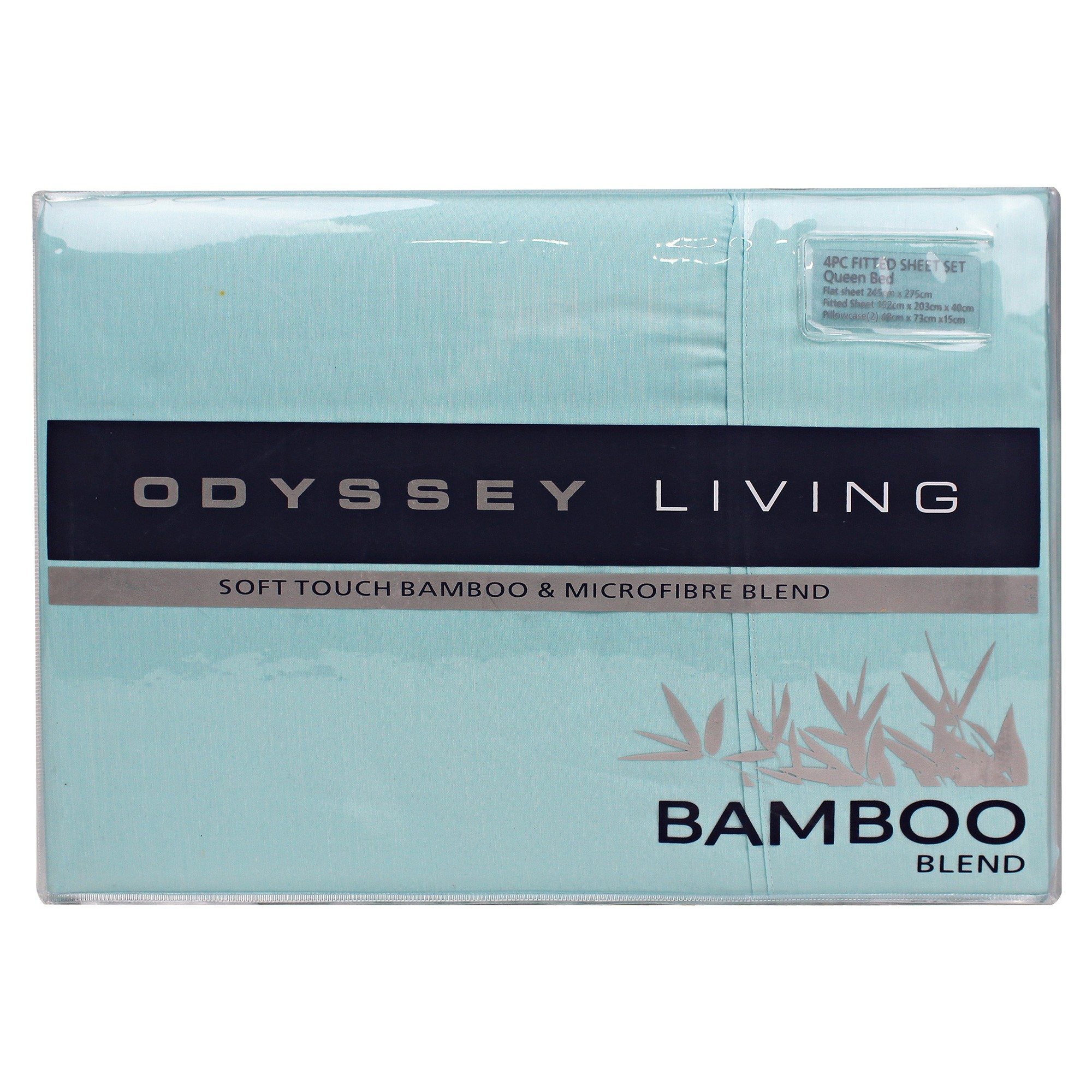 Odyssey Living Soft Touch Bamboo & Microfibre Blend Sheet Set, King, Aqua