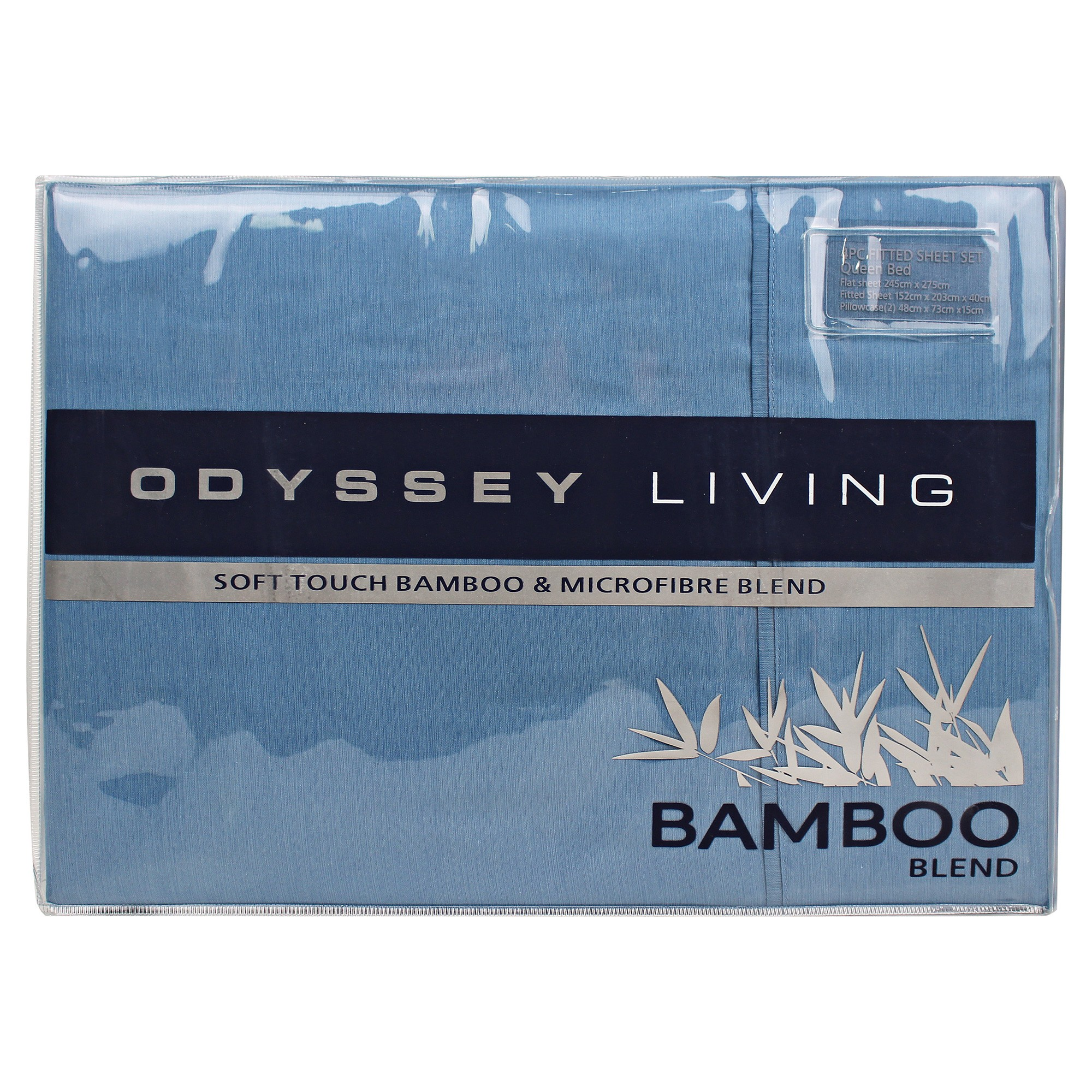 Odyssey Living Soft Touch Bamboo & Microfibre Blend Sheet Set, King, Sterling Blue
