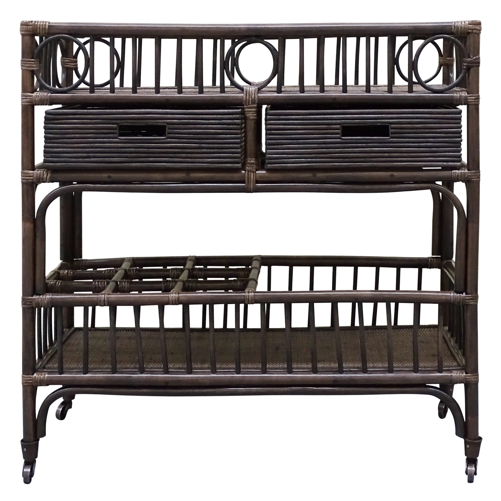 Raffles Bamboo Rattan Bar Caddy, Cigar
