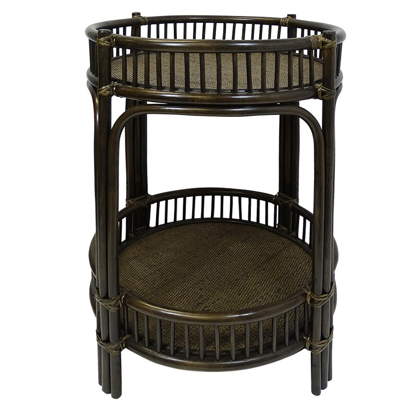 Hawthorne Bamboo Rattan Bar Caddy, Tobacco