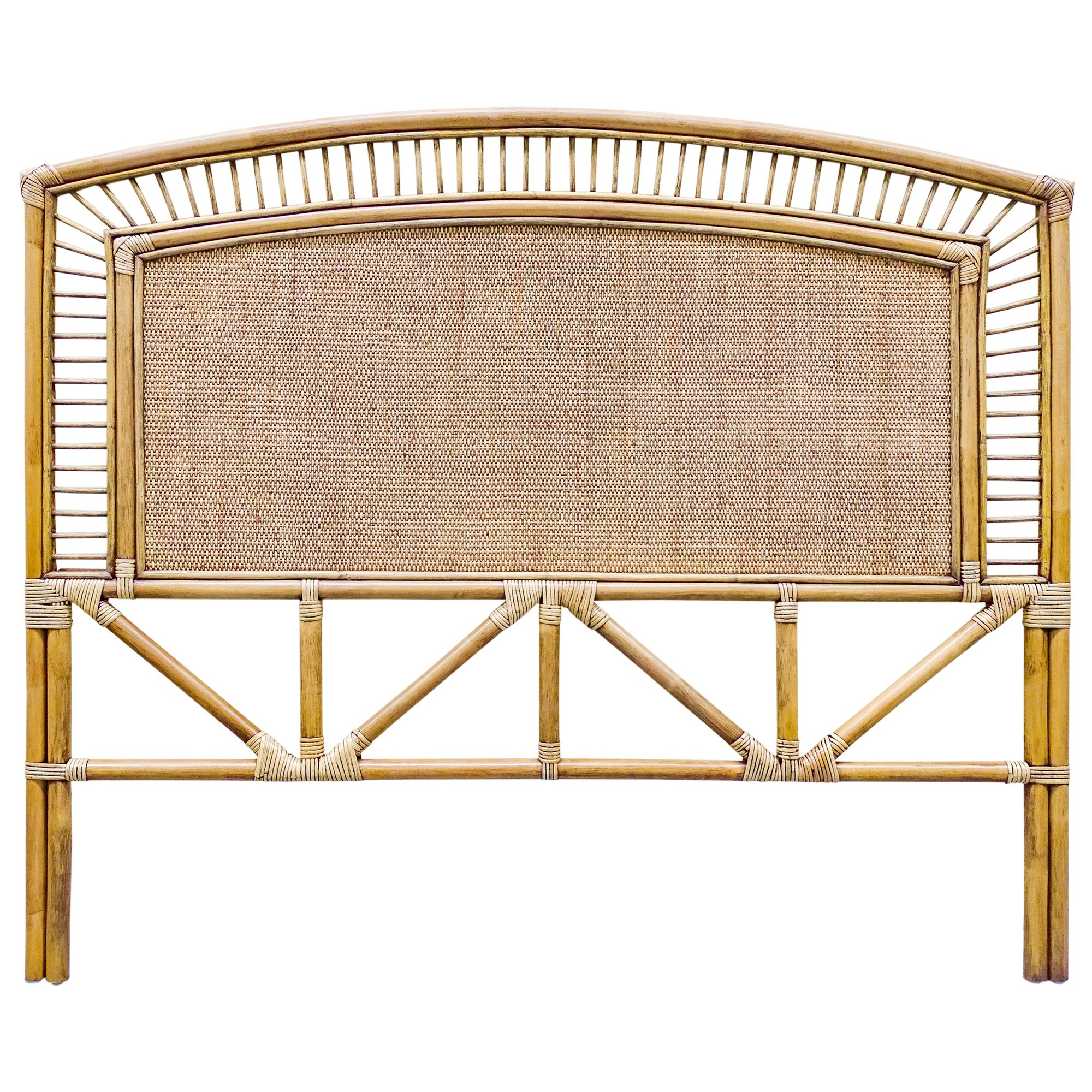 Sarah Bamboo Rattan Bed Headboard, Queen, Toffee