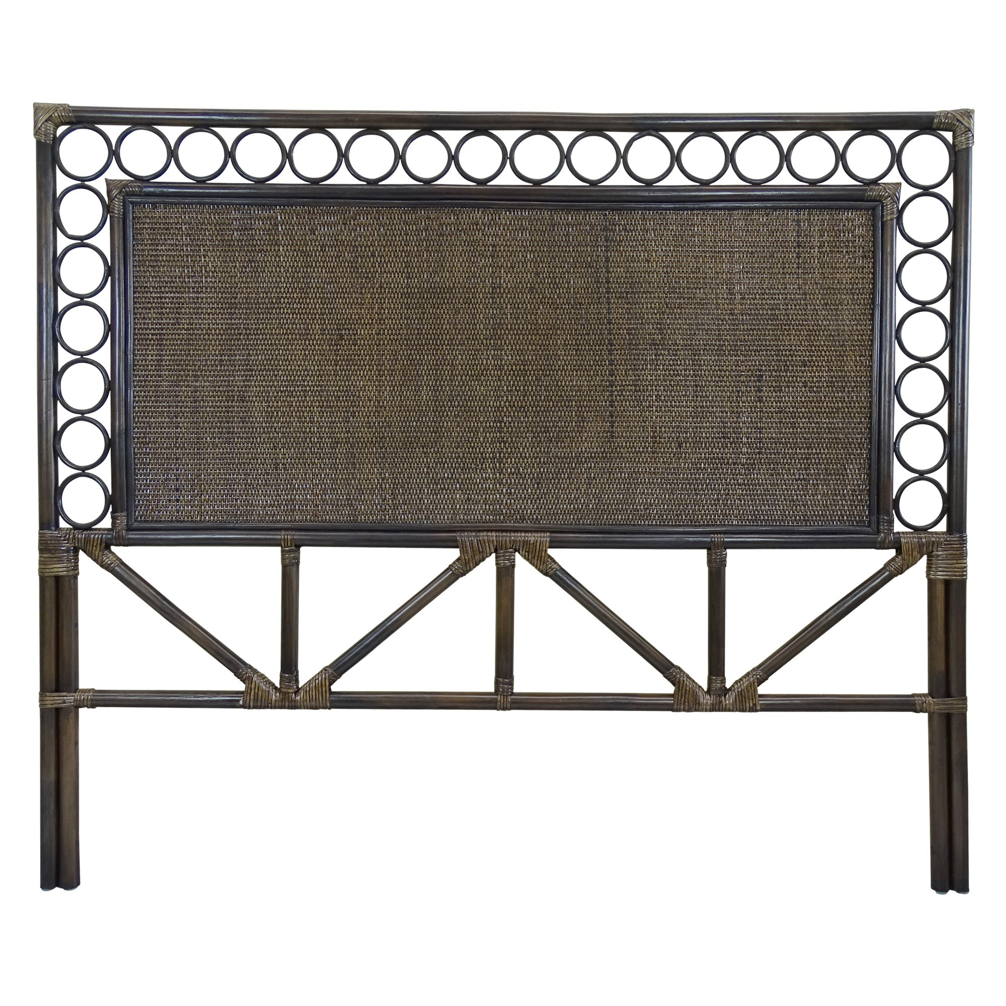 Zoie Bamboo Rattan Bed Headboard, Queen, Cigar