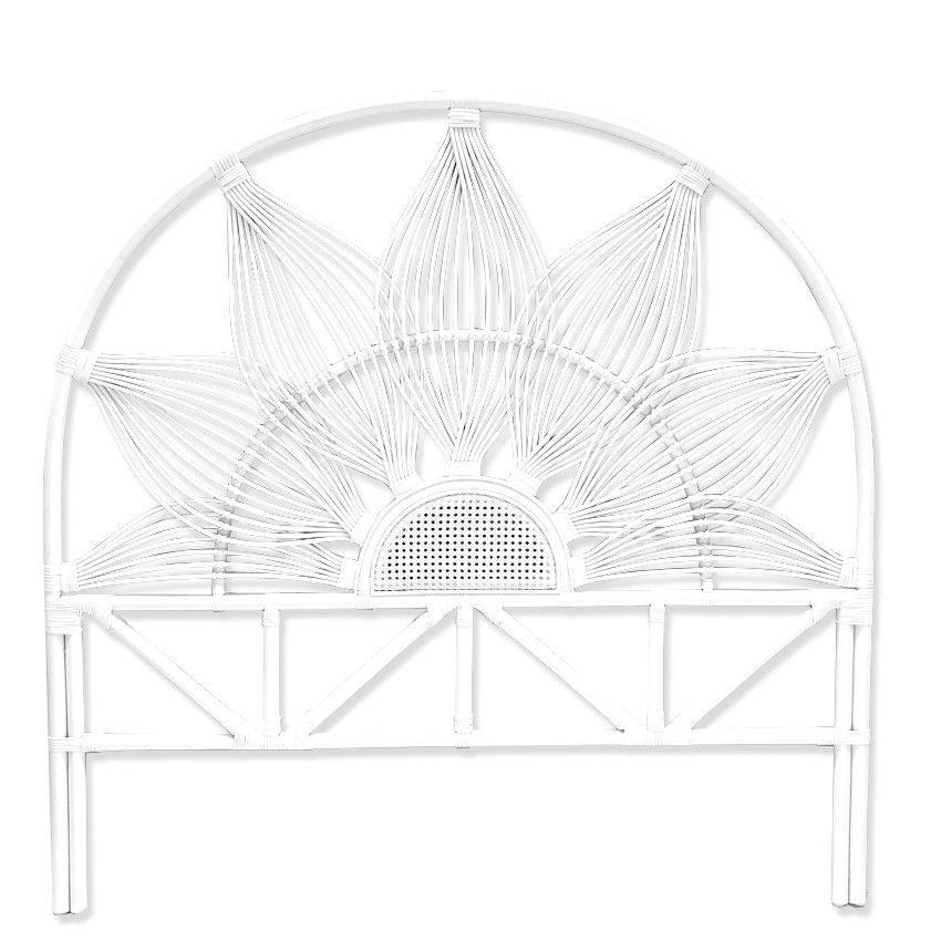 Sunflower Bamboo Rattan Bed Headboard, Queen, White