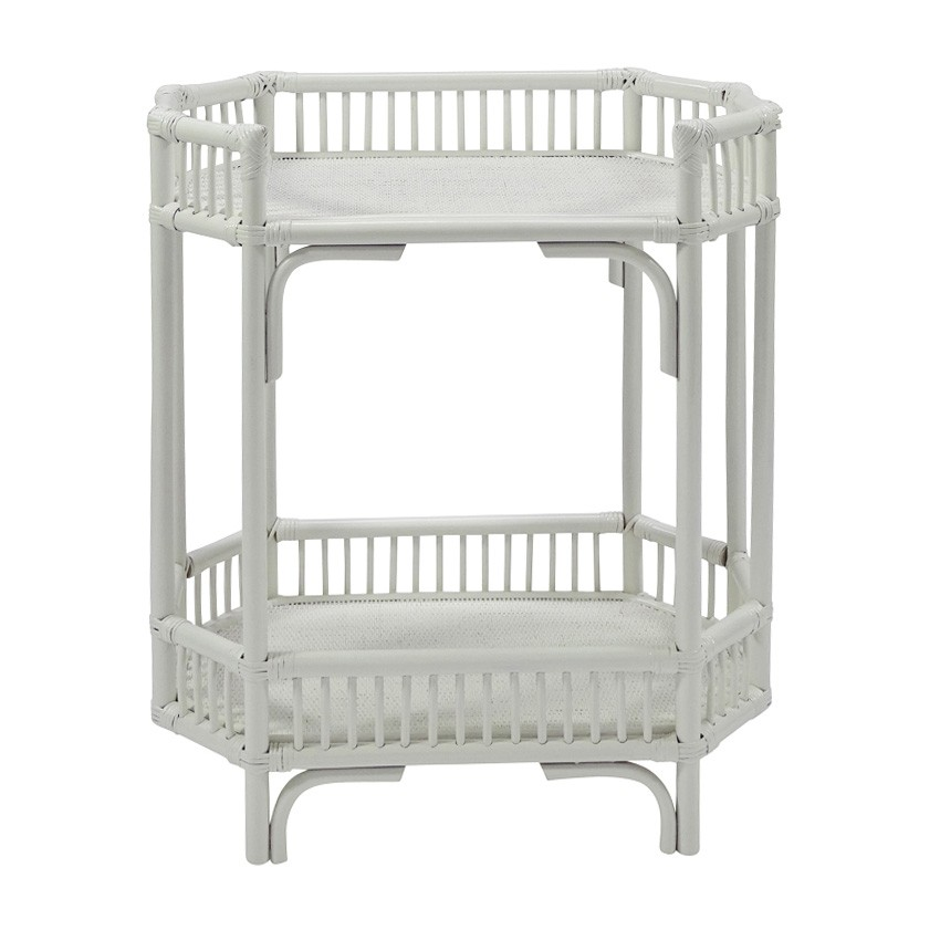 Crawford Bamboo Rattan Bar Caddy, White