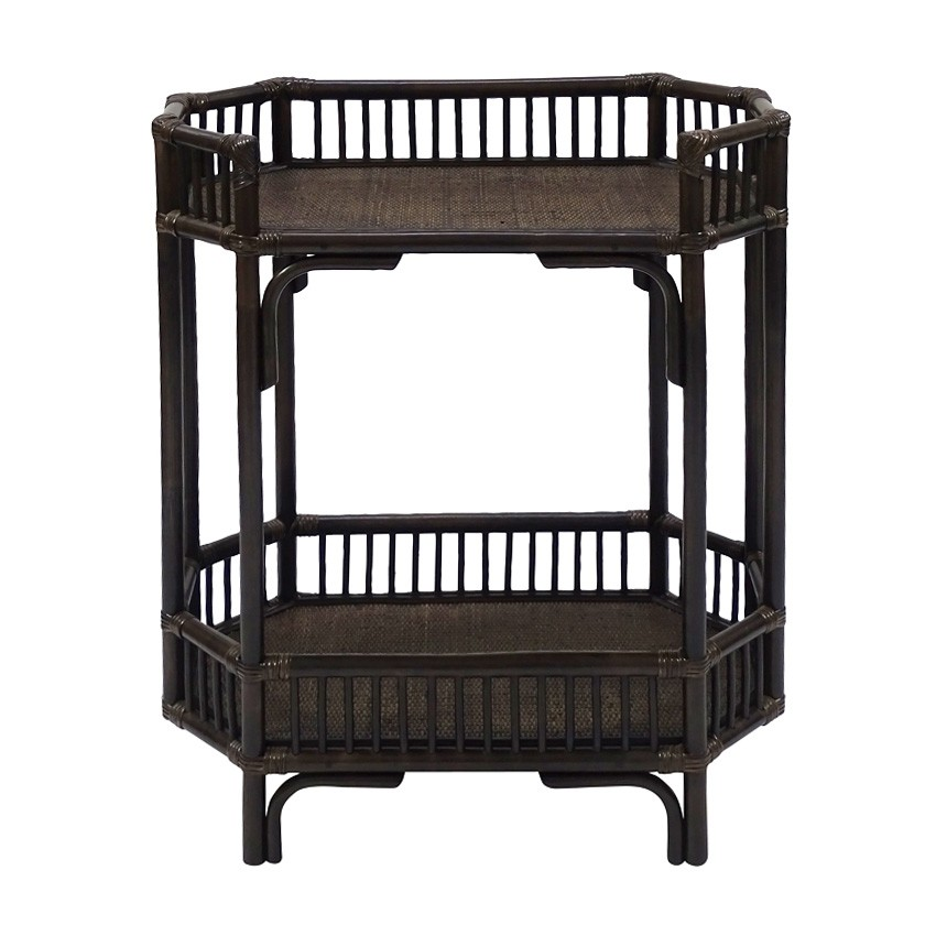 Crawford Bamboo Rattan Bar Caddy, Tobacco