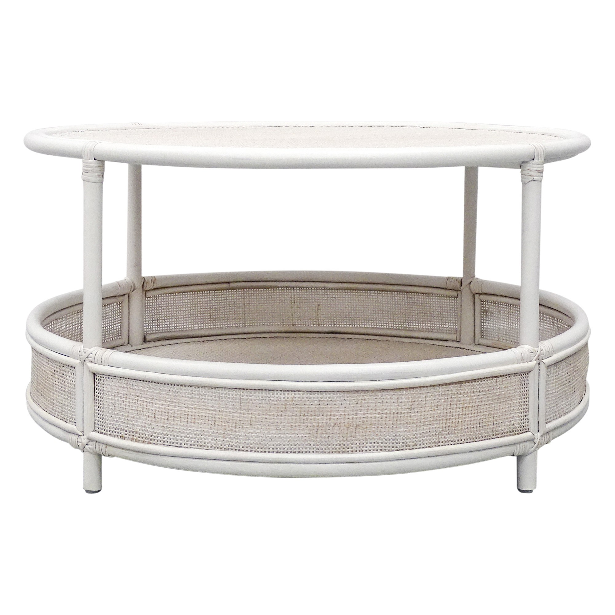 Carson Bamboo Rattan Round Coffee Table, 90cm, White