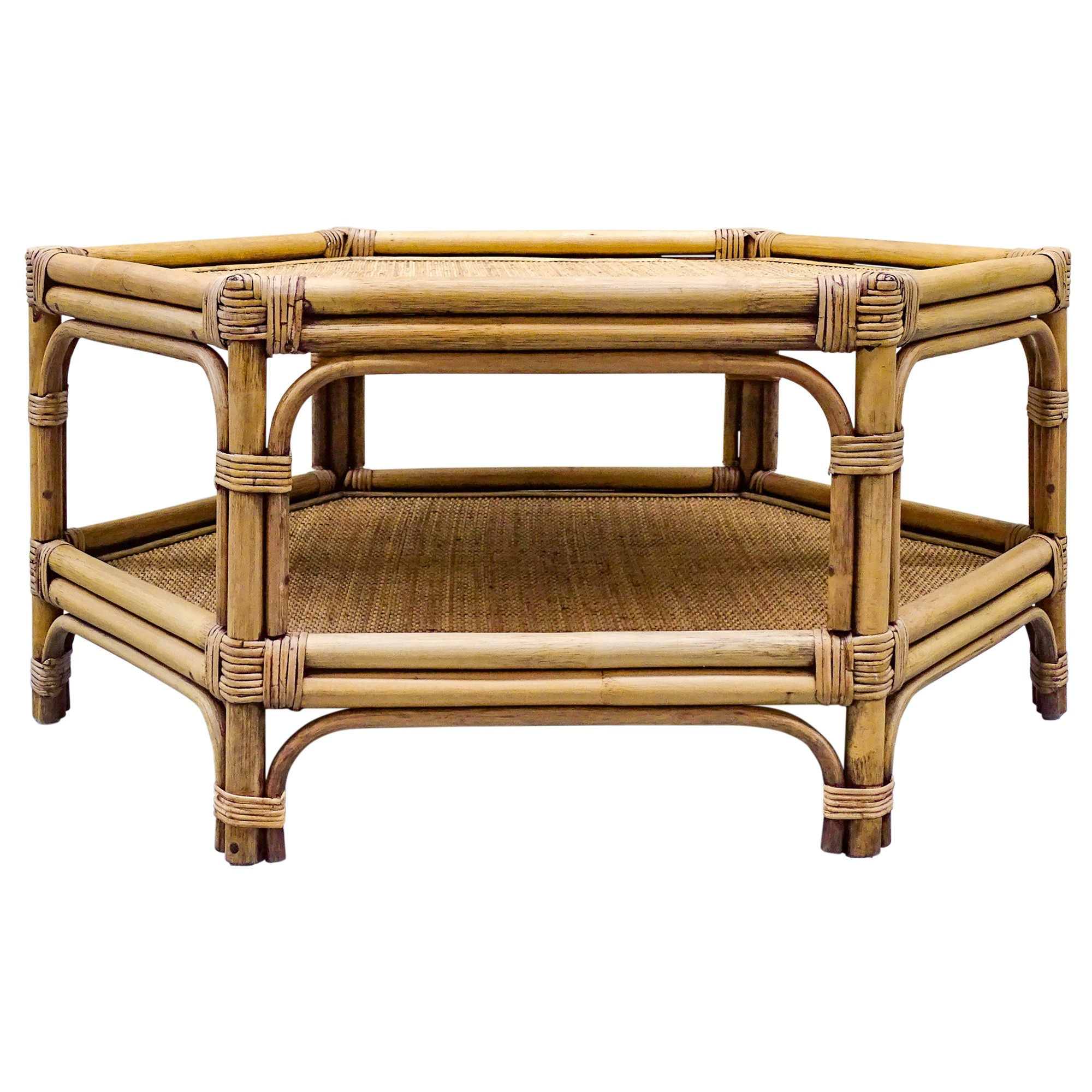Florence Bamboo Rattan Round Coffee Table, 100cm, Toffee