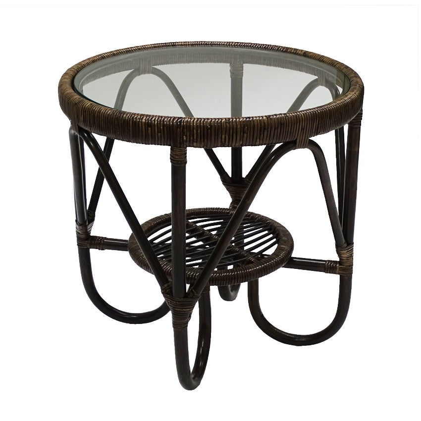 Monash Glass Topped Bamboo Rattan Side Table, Tobacco