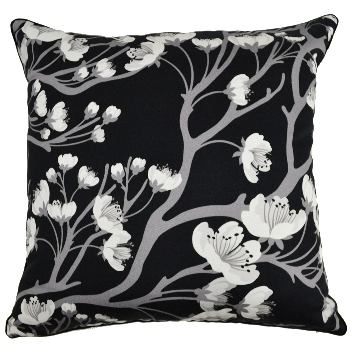 Monochrome Cherry Blossom Printed Cotton Scatter Cushion