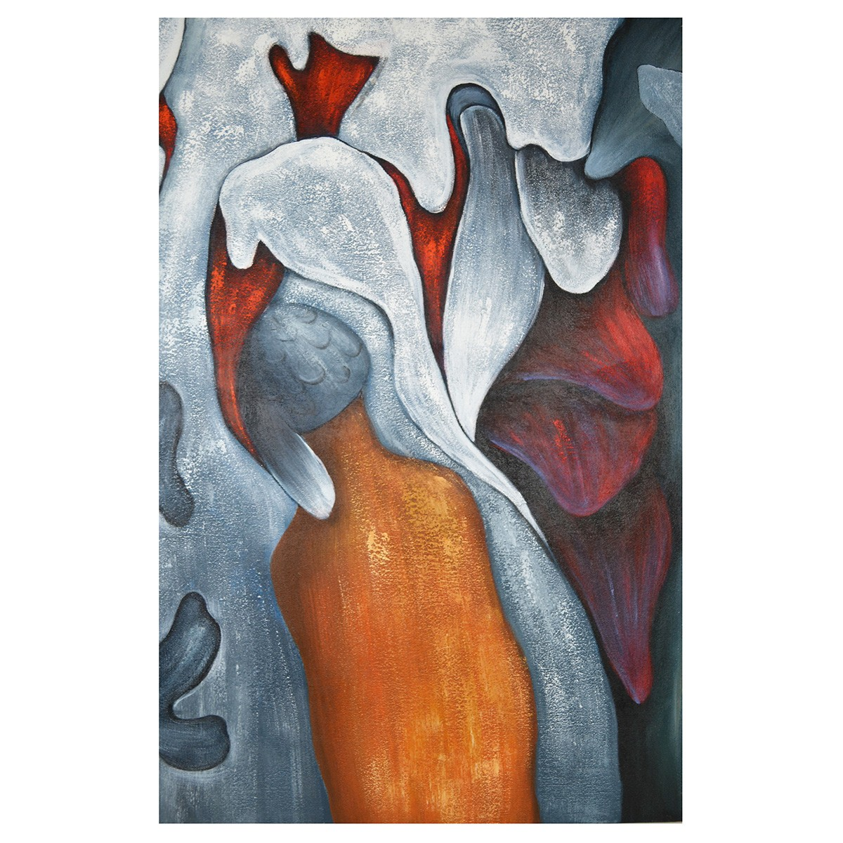 Streched Canvas Abstract Painting Wall Art, Lava, 90cm
