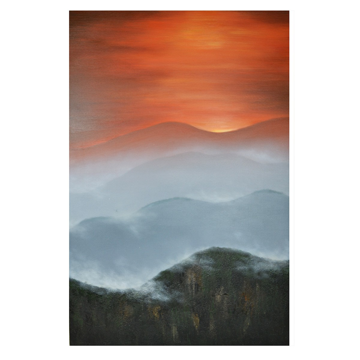 Streched Canvas Painting Wall Art, Mountain Sunset, 120cm