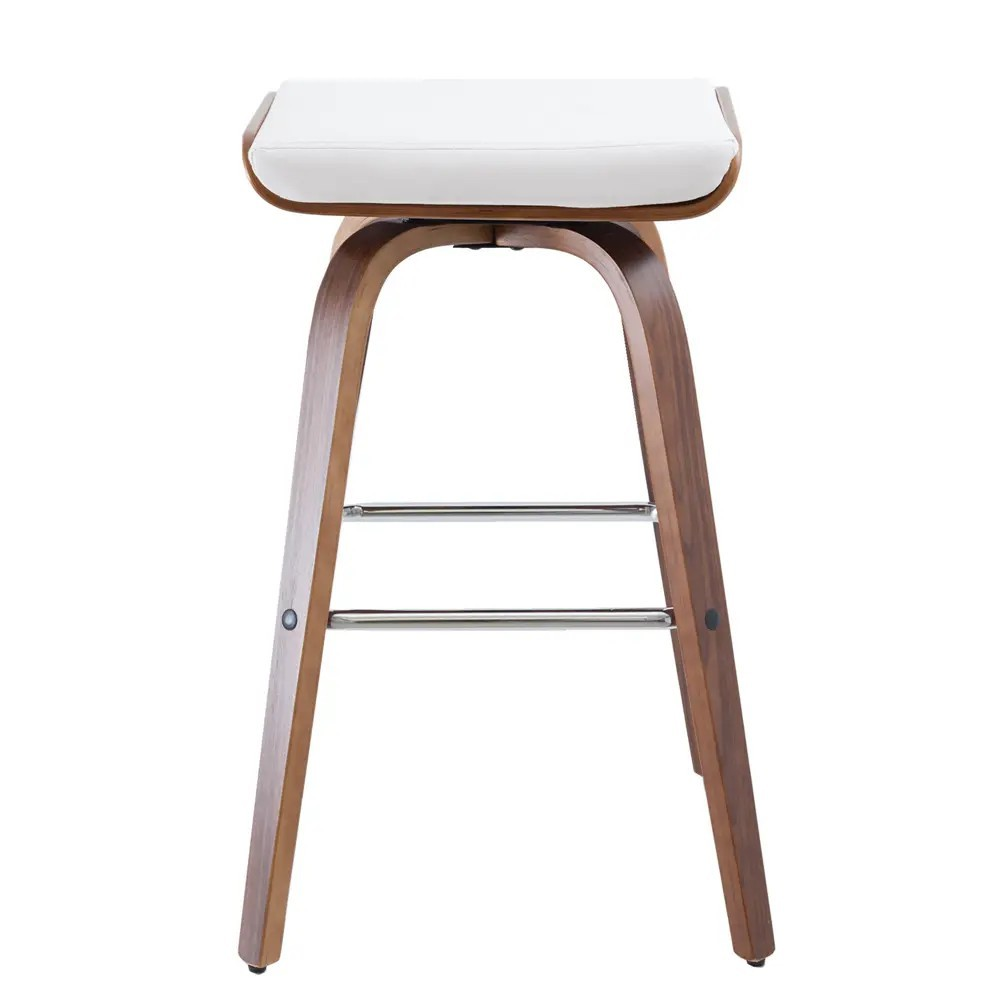 Ruby Commercial Grade Wooden Bar Stool, Walnut / White