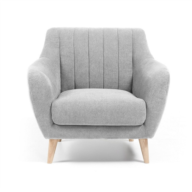 Olya Fabric Upholstered Armchair - Light Grey