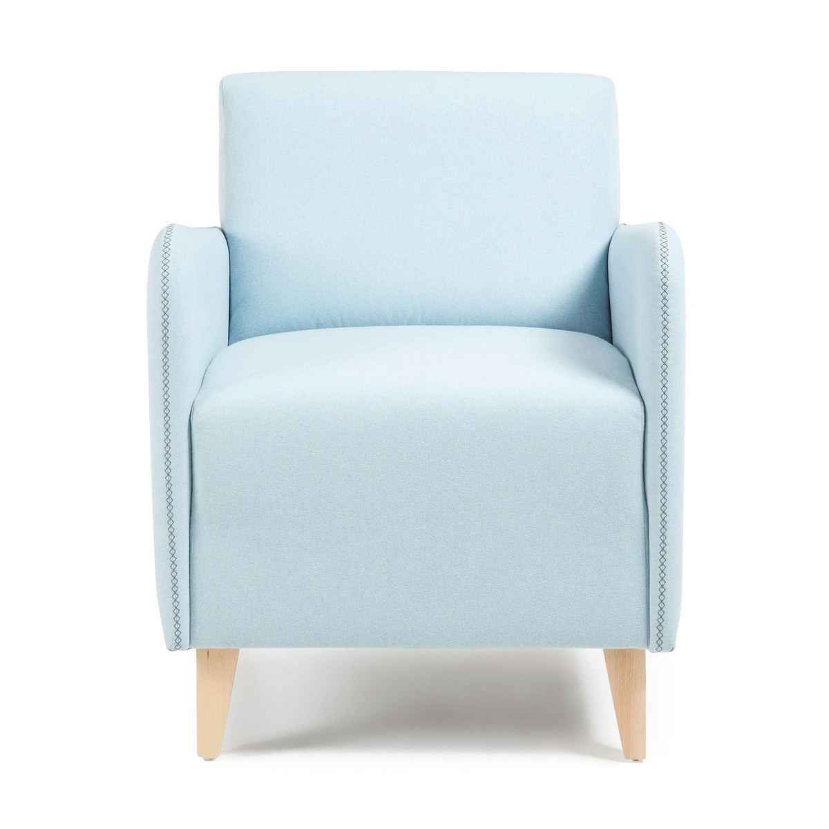Nicola Fabric Lounge Armchair, Light Blue