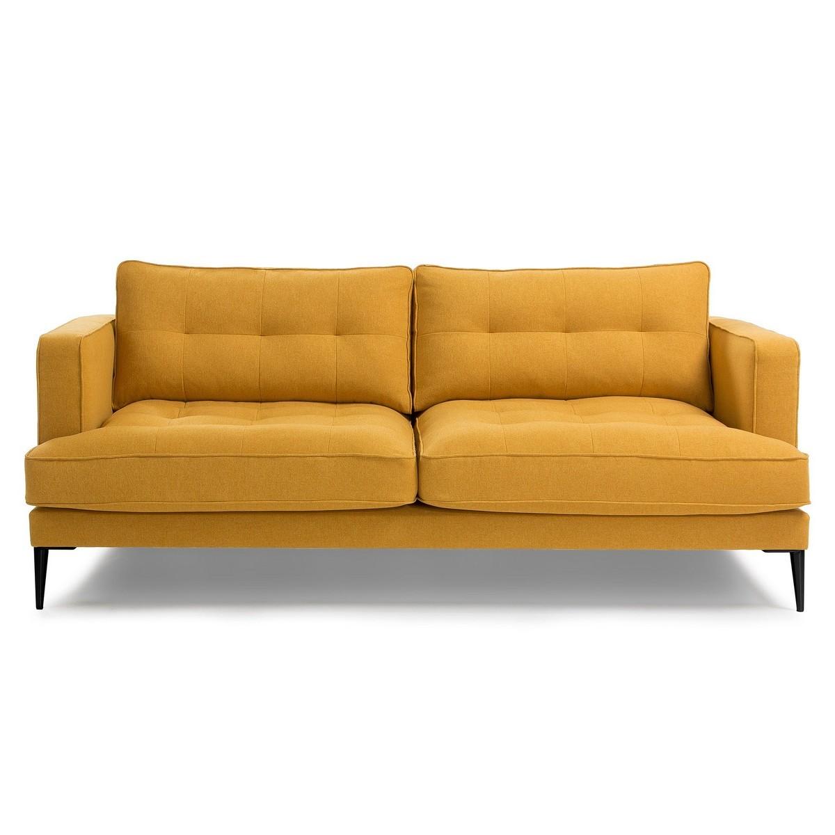 Bellavista Tufted Fabric Sofa, 3 Seater, Mustard