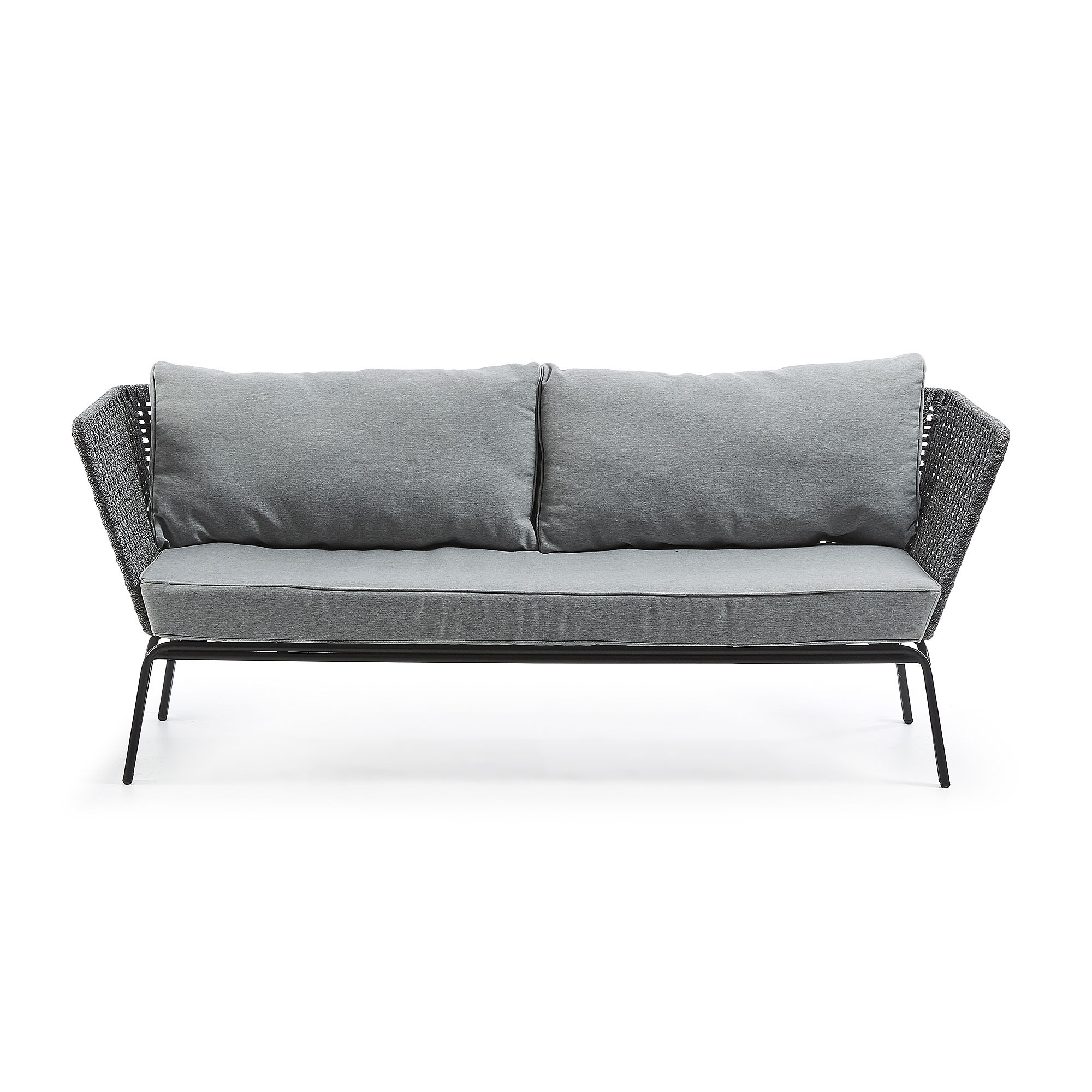 Borden Rope & Steel Indoor / Outdoor 3 Seater Sofa, Grey