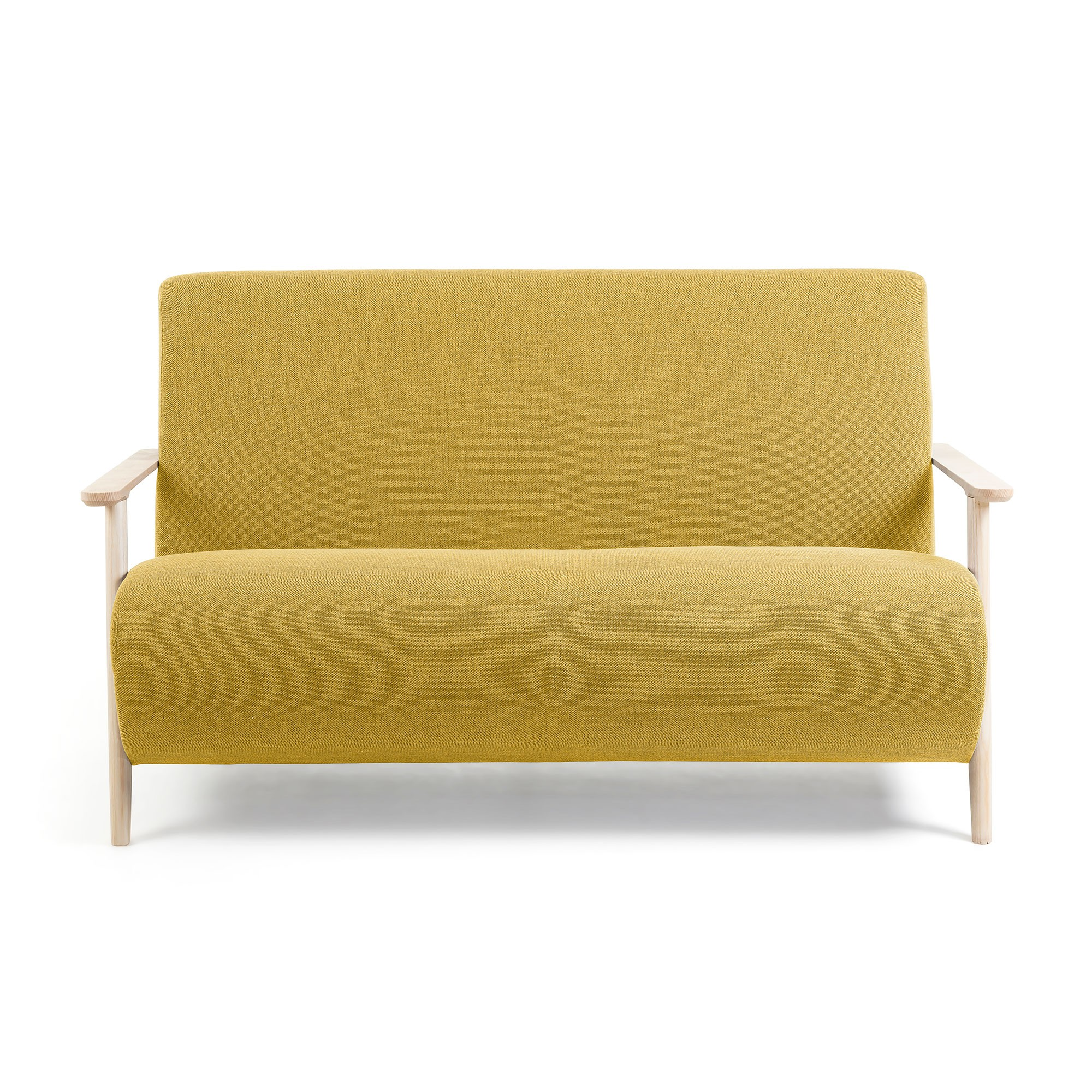 Roberta Varese Fabric Sofa, 2 Seater, Mustard / Natural