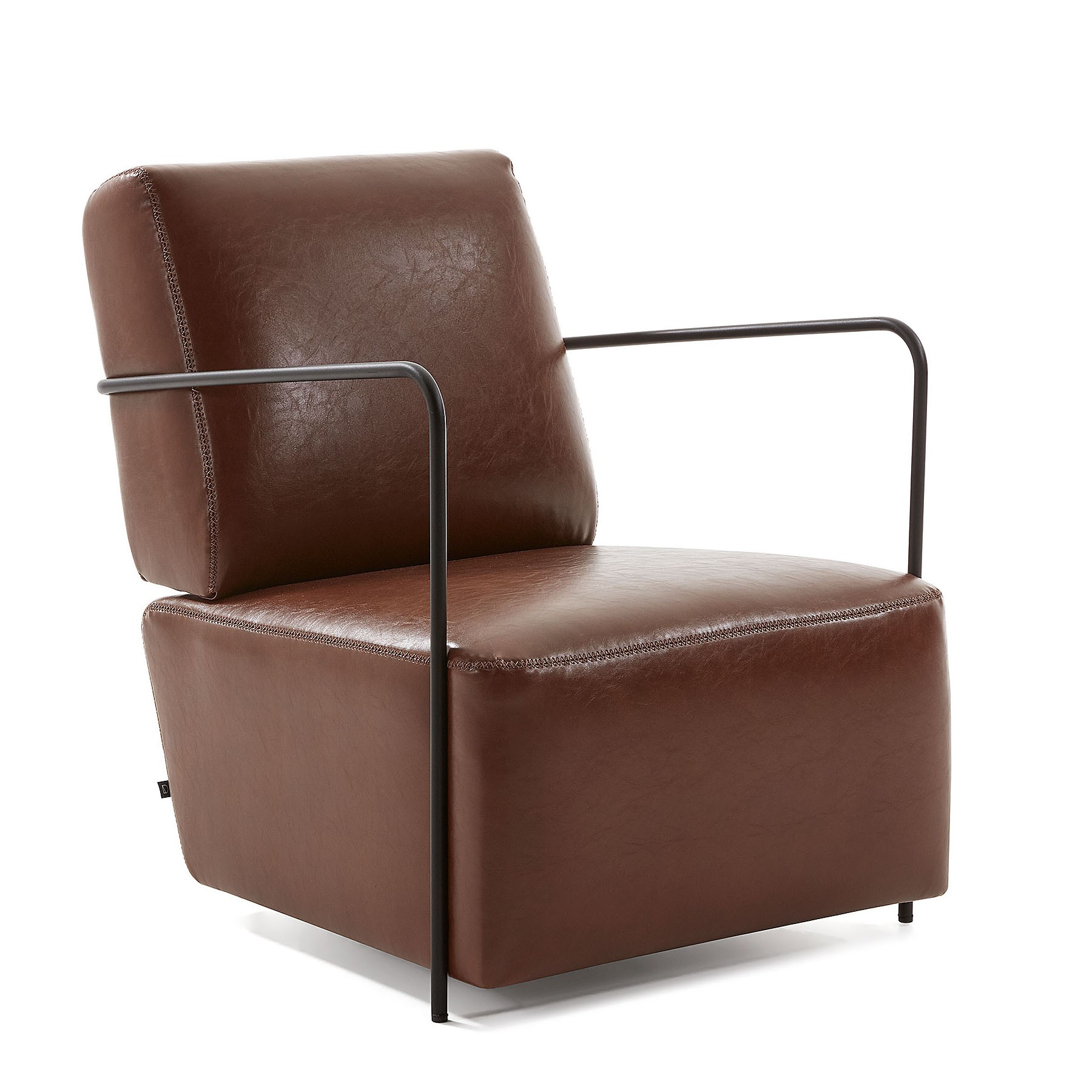 Kone Synthetic Leather Lounge Armchair, Brown