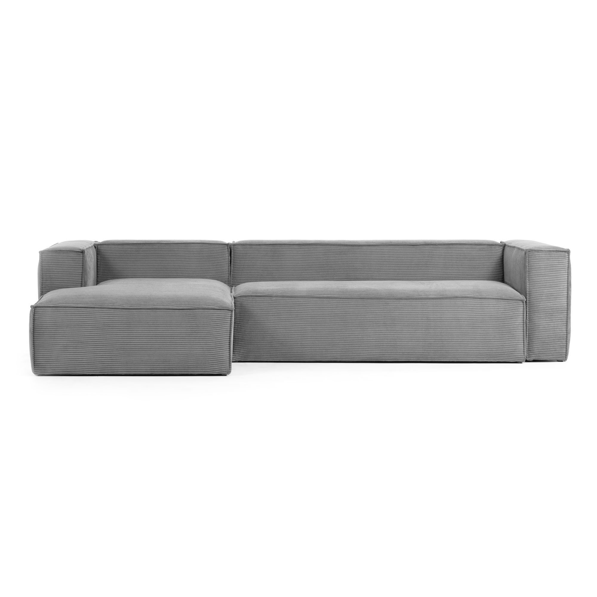 Lorton Corduroy Fabric Corner Sofa, 2 Seater with LHF Chaise, Grey