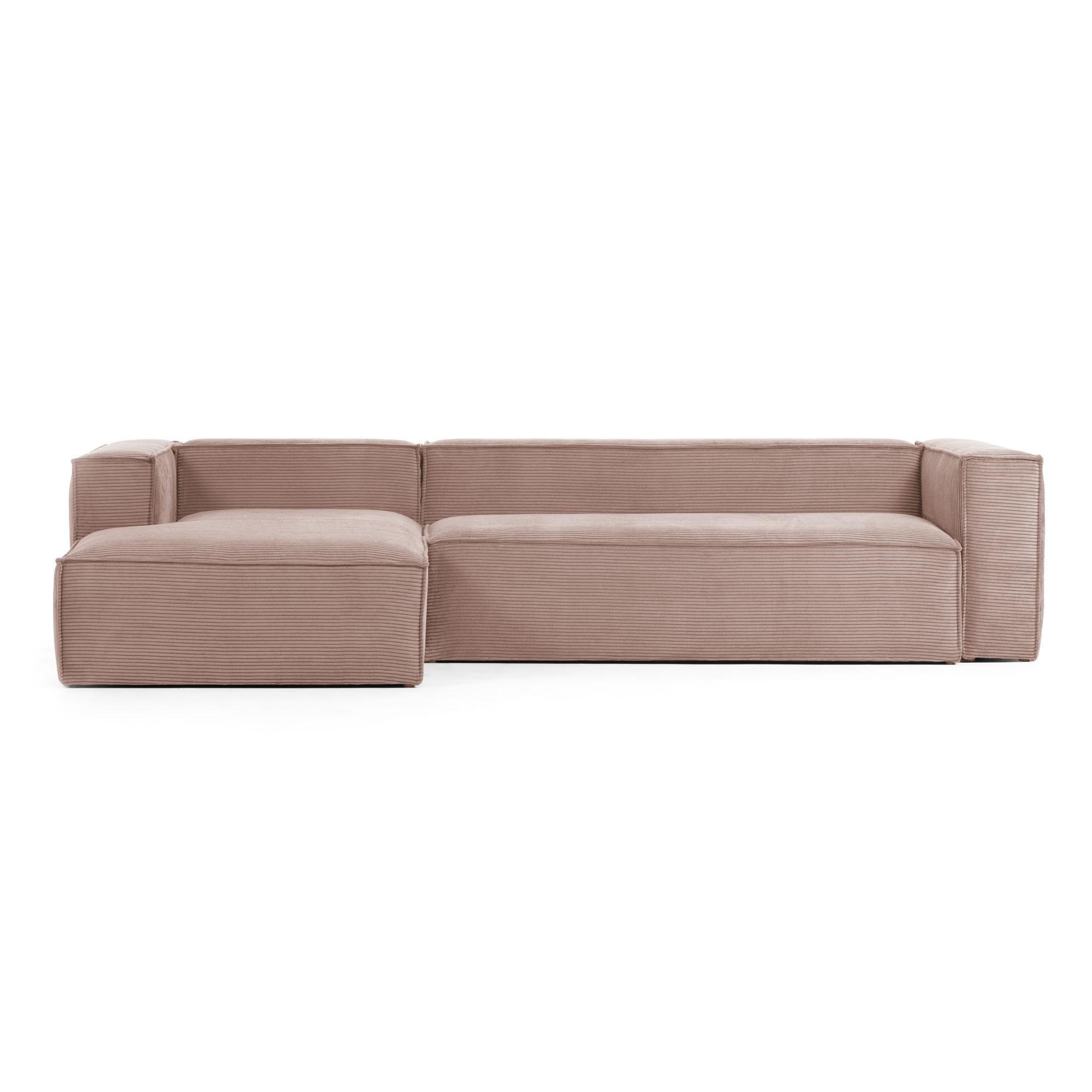 Lorton Corduroy Fabric Corner Sofa, 2 Seater with LHF Chaise, Blush
