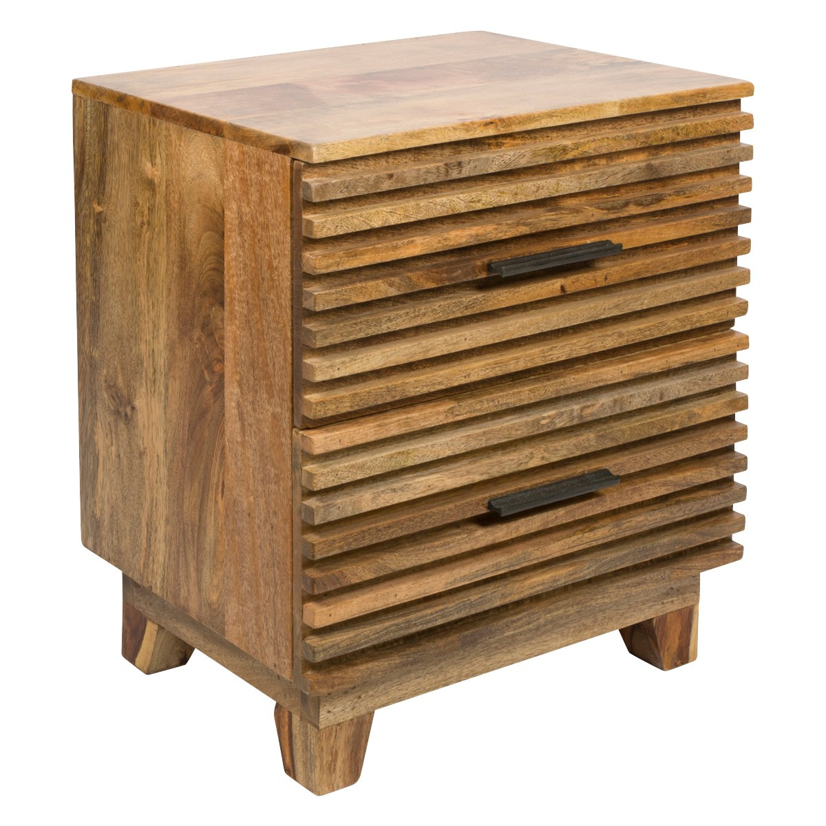 Ajara Ribbed Timber 2 Drawer Bedside Table