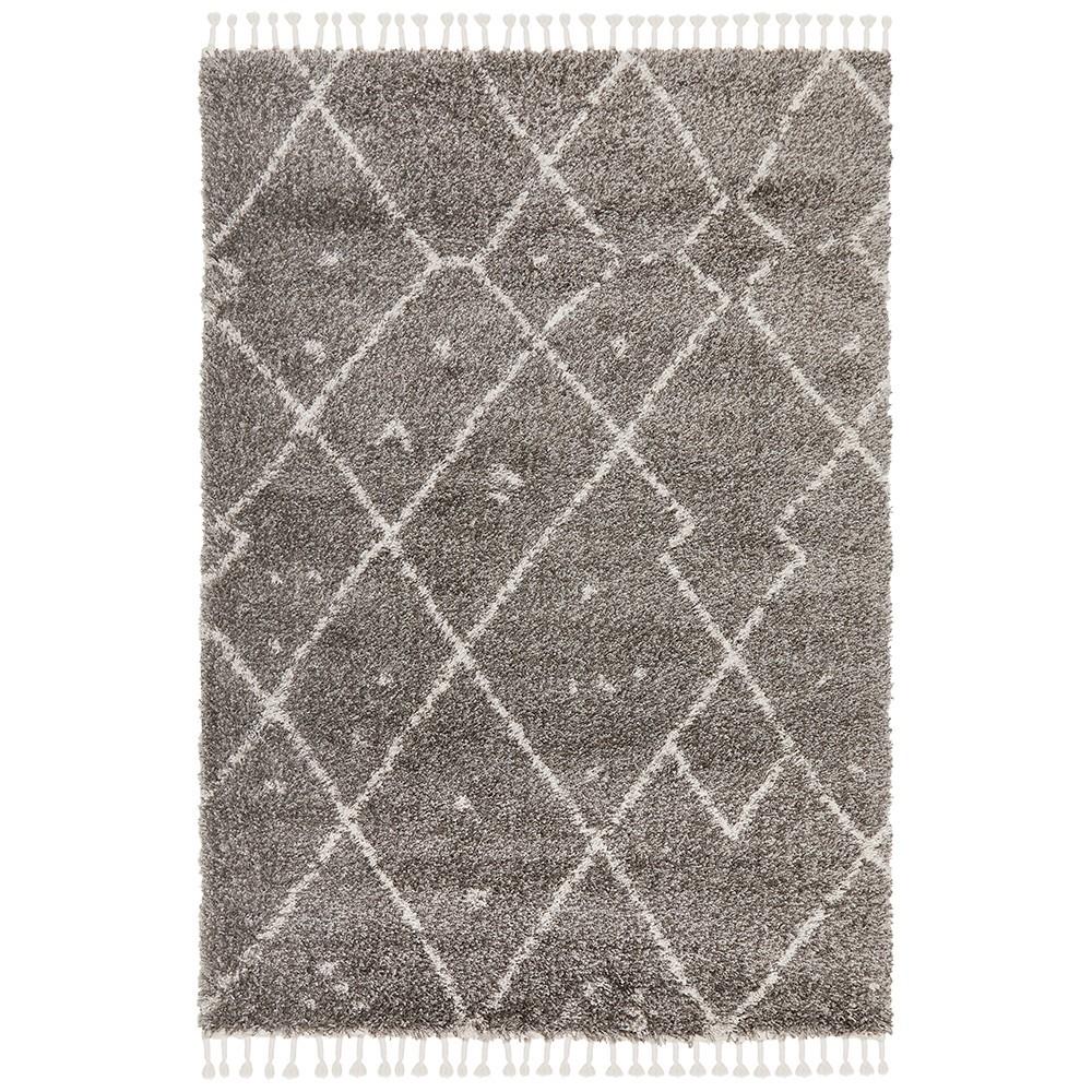 Saffron Kenza Fringed Shag Rug, 300x400cm, Grey