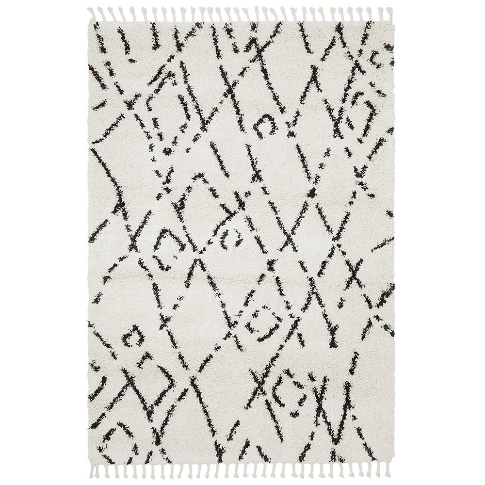 Saffron Meryem Fringed Shag Rug, 300x400cm, White