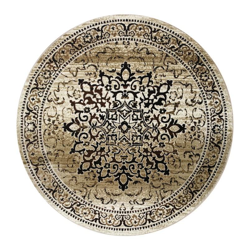 Nomad Aurera Oriental Round Rug, 240cm, Beige