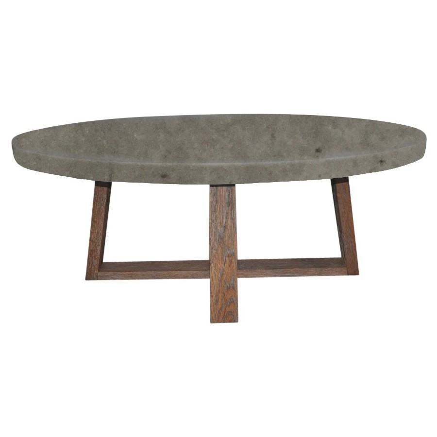 Varallo Oval Coffee Table, 120cm, Concrete Top
