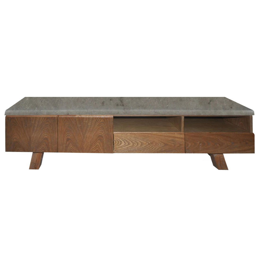 Varallo 2 Door 2 Drawer TV Unit, 180cm, Concrete Top