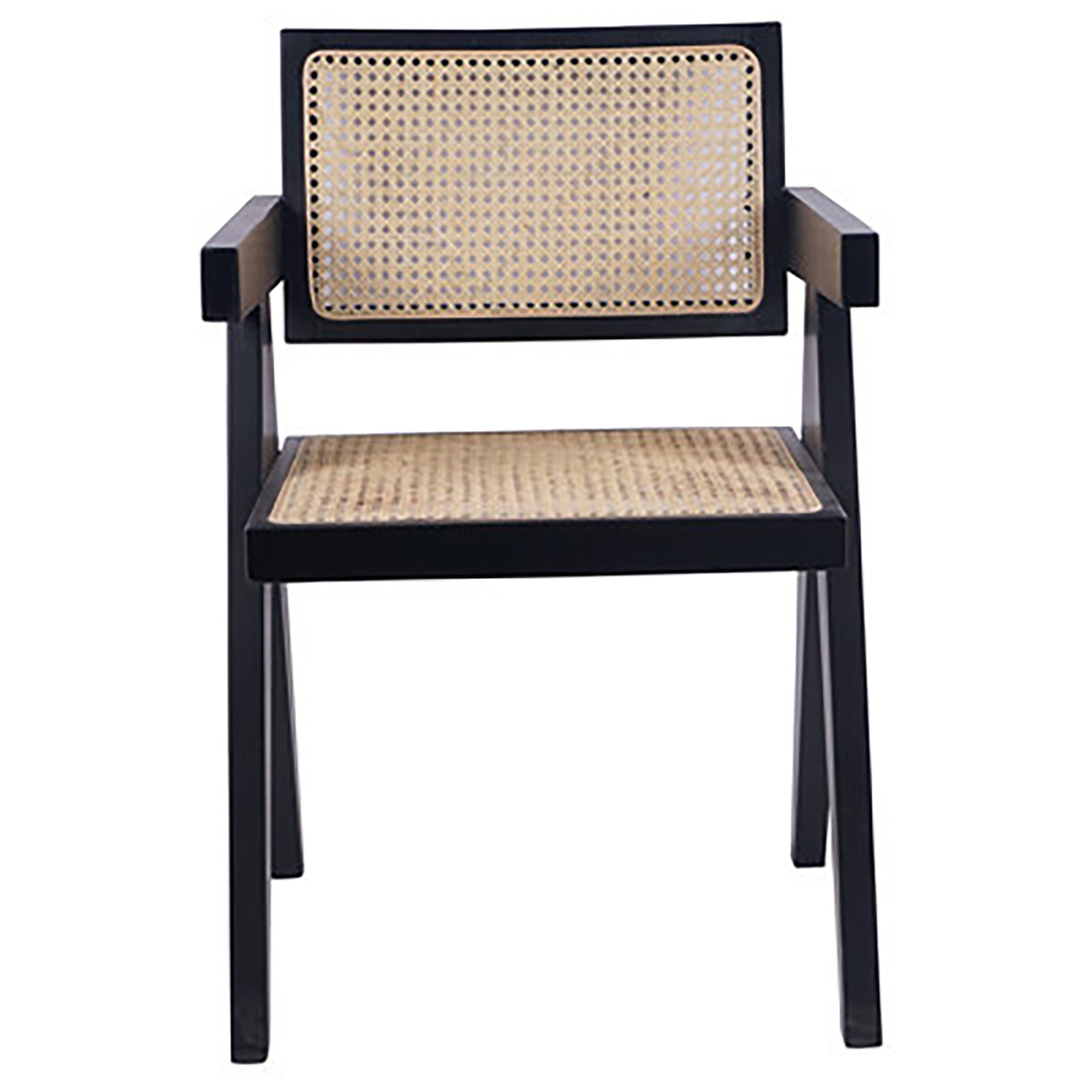 Doyles Beech Timber & Rattan Dining Armchair, Black