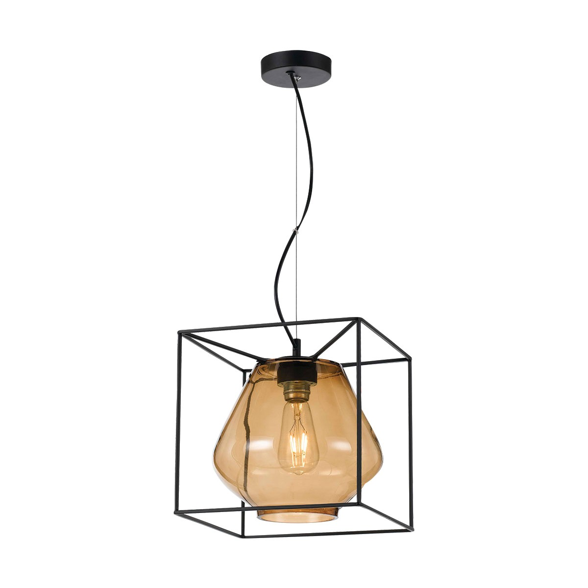 Sempre Metal & Glass Pendant Light, Amber / Black