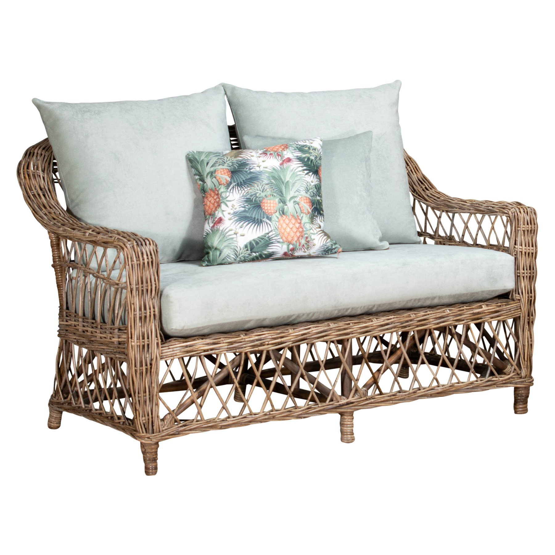 Nassau Rattan Sofa, 2 Seater, Natural / Seafoam