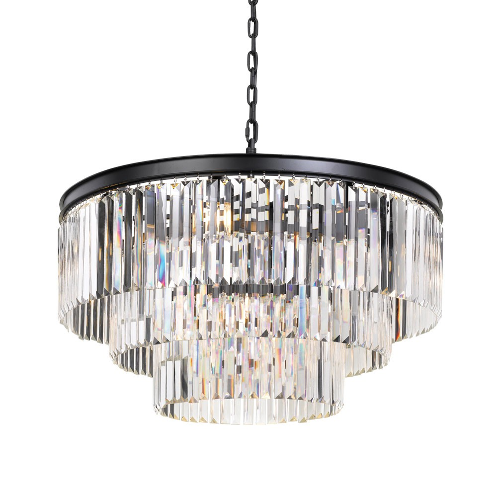 Serene Crystal Pendant Light, Cascade Ring, Large