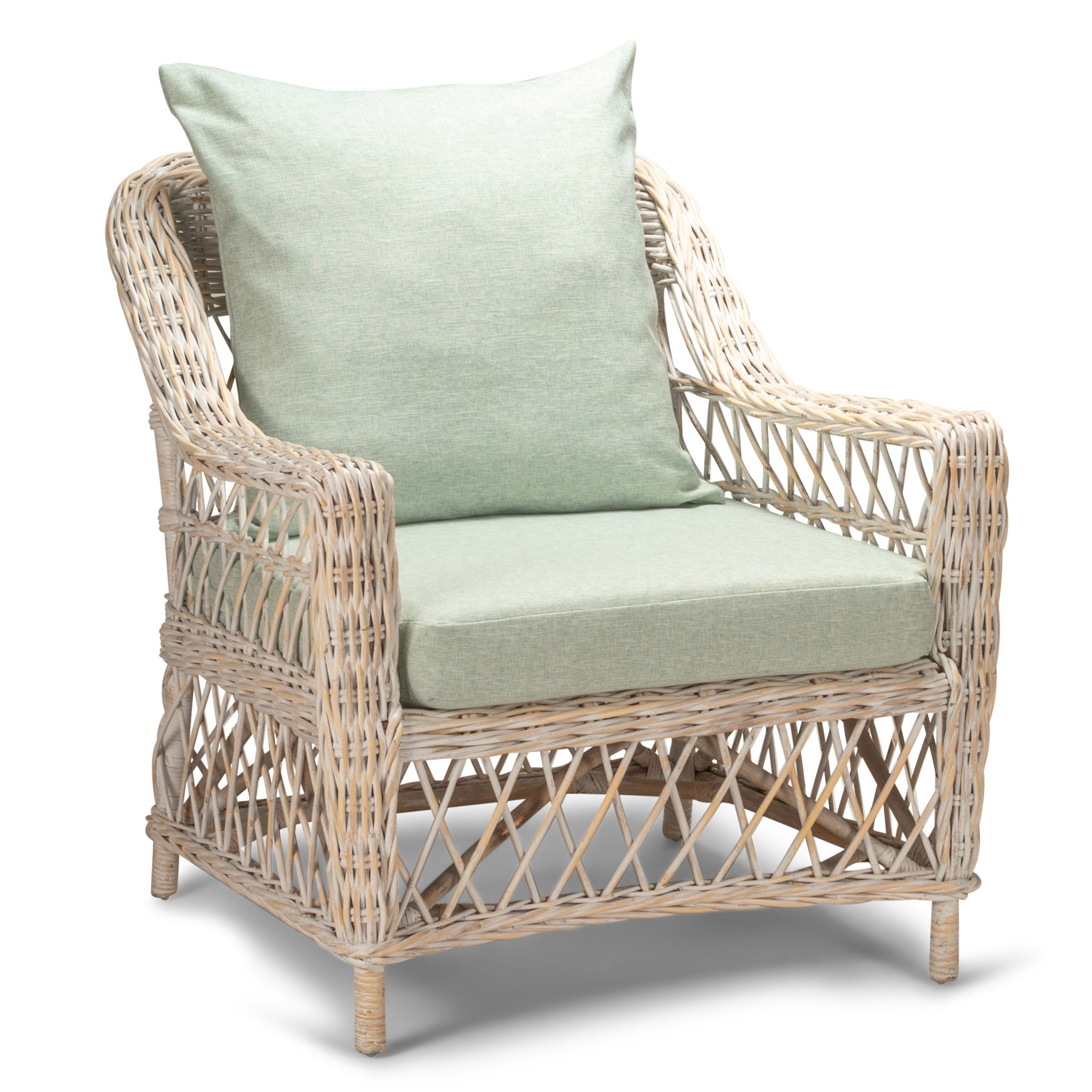 Nassau Rattan Armchair, White Wash / Seafoam